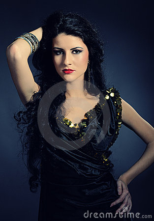 Beautiful Arabic Woman With Long Black Hair Royalty Free