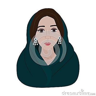 Beautiful arabic woman portrait illustration Cartoon Illustration
