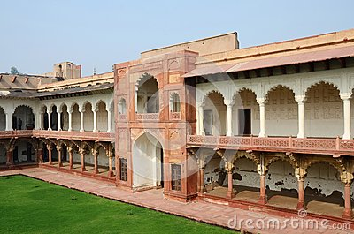Beautiful architecture of Agra fort,famous landmark,unesco heritage
