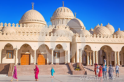Beautiful architecture of Hurghada Marina Mosque in Egypt Editorial Photography