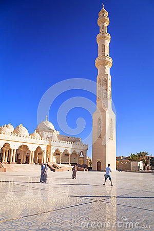 Beautiful architecture of Hurghada Marina Mosque in Egypt Editorial Photo
