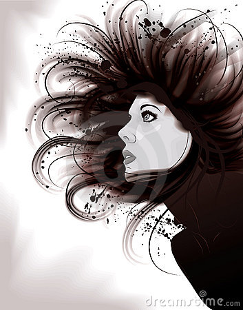 Beautiful artistic portrait illustration of woman