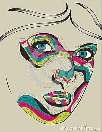 Beautiful artistic portrait illustration of woman