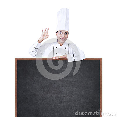Asian chef with copyspace on white