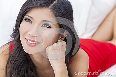 Beautiful Asian Chinese Woman Girl in Red Dress