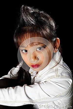 Beautiful Asian in a denim jacket