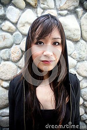 Beautiful Asian girl in black