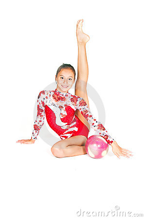Beautiful Asian girl gymnast with a ball