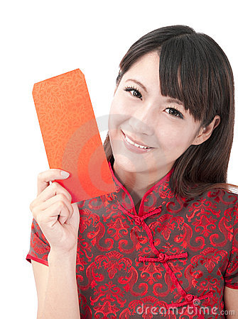 Beautiful asian girl holding red bag