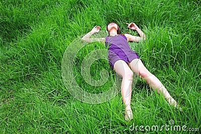 Beautiful Asian girl lying down