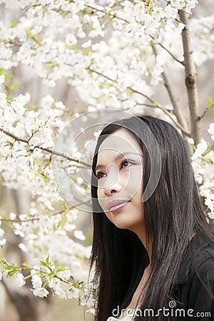 Beautiful Asian girl in spring