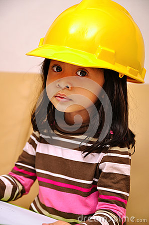 Beautiful Asian Girl Wearing Yellow Helmet