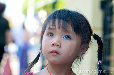 Beautiful Asian kid in Chinatown Editorial Stock Photo