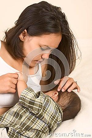 Free Beautiful Asian Mom Breastfeeding Her Baby Boy Stock Photo - 5322830