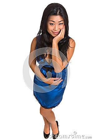 Beautiful Asian woman in a blue dress