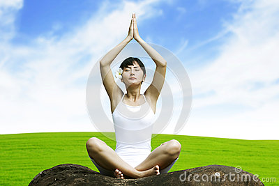 Beautiful Asian Woman doing Yoga