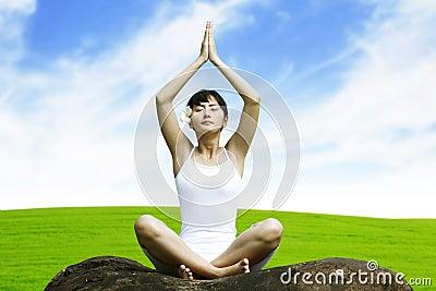 Beautiful Asian Woman doing Yoga