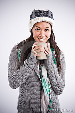 Beautiful asian woman drinking coffee