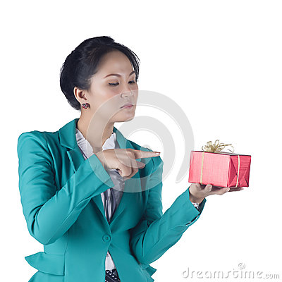 Beautiful Asian woman holding a gift box