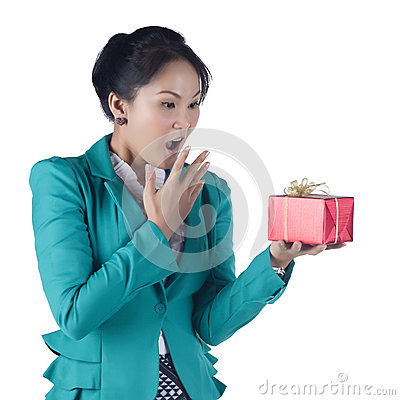 Beautiful Asian woman holding a gift box