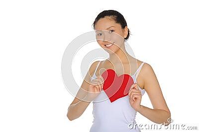 Beautiful Asian woman pulls the heart