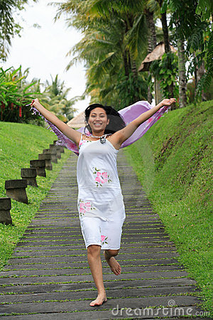 Beautiful Asian Woman Running