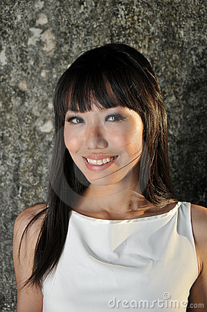 Beautiful Asian Woman Smiling Face