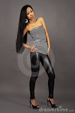 Beautiful asian woman in stripped vest