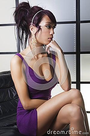 Beautiful Asian women thinking