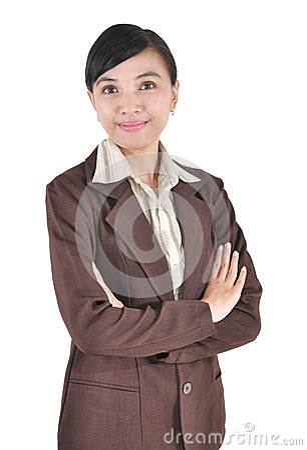 Beautiful Asian young businesswoman standing