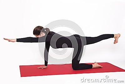 Beautiful athletic girl in black suit doing yoga goasana for Table yoga pose
