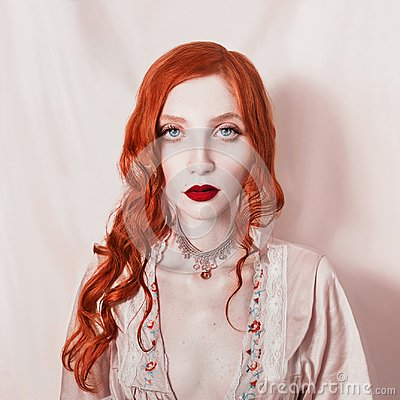 Free Beautiful Attractive Girl With Red Hair Stock Photo - 106177590
