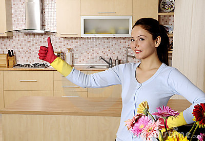 Beautiful attractive women cleaning the house