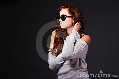 Beautiful attractive young girl in sunglasses