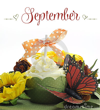 Free Beautiful Autumn Fall Theme Cupcake With Autumn Seasonal Flowers And Decorations For The Month Of September Stock Images - 40685734
