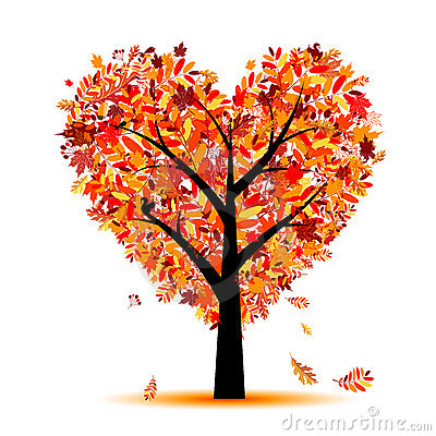 Free Beautiful Autumn Tree Heart Shape For Your Design Stock Photos - 16239693