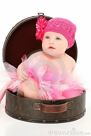 Free Beautiful Baby Girl In Travel Case Stock Image - 15880531