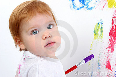 Beautiful Baby Girl Painting On Poster Board