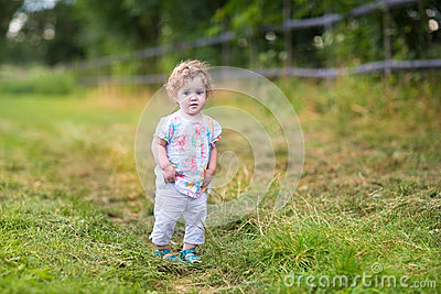 Beautiful baby girl walking on country road at sunset