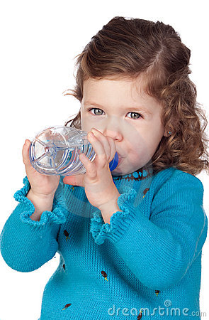 Free Beautiful Baby Girl With Drinking Stock Images - 17800904
