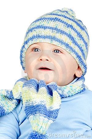 Beautiful baby warm with hat and scarf