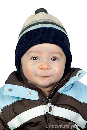 Beautiful baby with wool cap