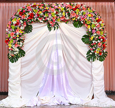 Beautiful backdrop flowers over white fabric
