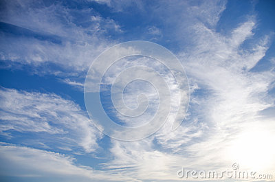 Beautiful background of blue sky with white clouds