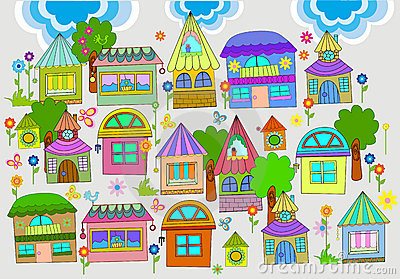 Beautiful background with colorful houses