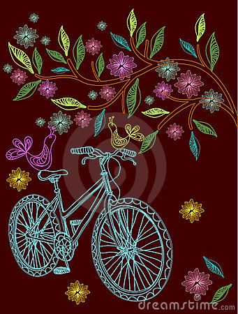 Beautiful background with tree and bicycle
