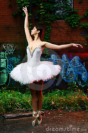 Beautiful ballerina dancing ballet dance
