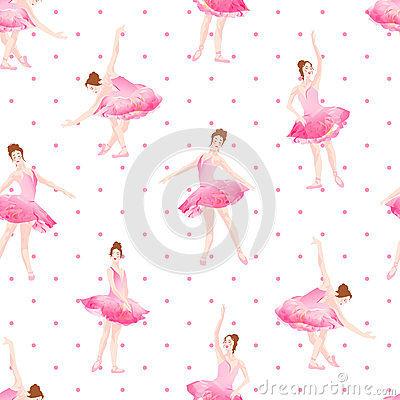 Free Beautiful Ballerinas Dance On Polka Dot Background Seamless Vect Stock Photos - 67321423