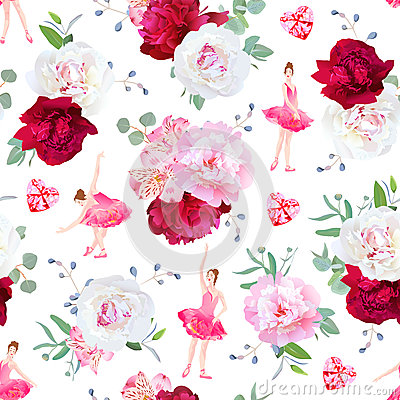 Free Beautiful Ballerinas Dance, Red Heart Diamonds And Fresh Peony Bouquets Seamless Vector Pattern Royalty Free Stock Images - 76074399