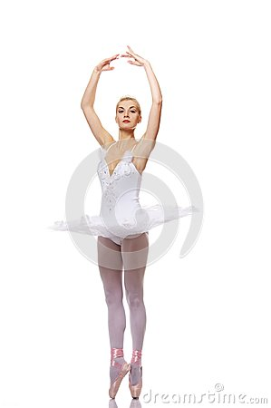 Beautiful ballet dancer isolated on white